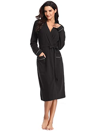 5628a0809b Lusofie Robe Women s Ultra-Soft Bathrobe Long Sleeve Sleepwear with Pockets  (Black