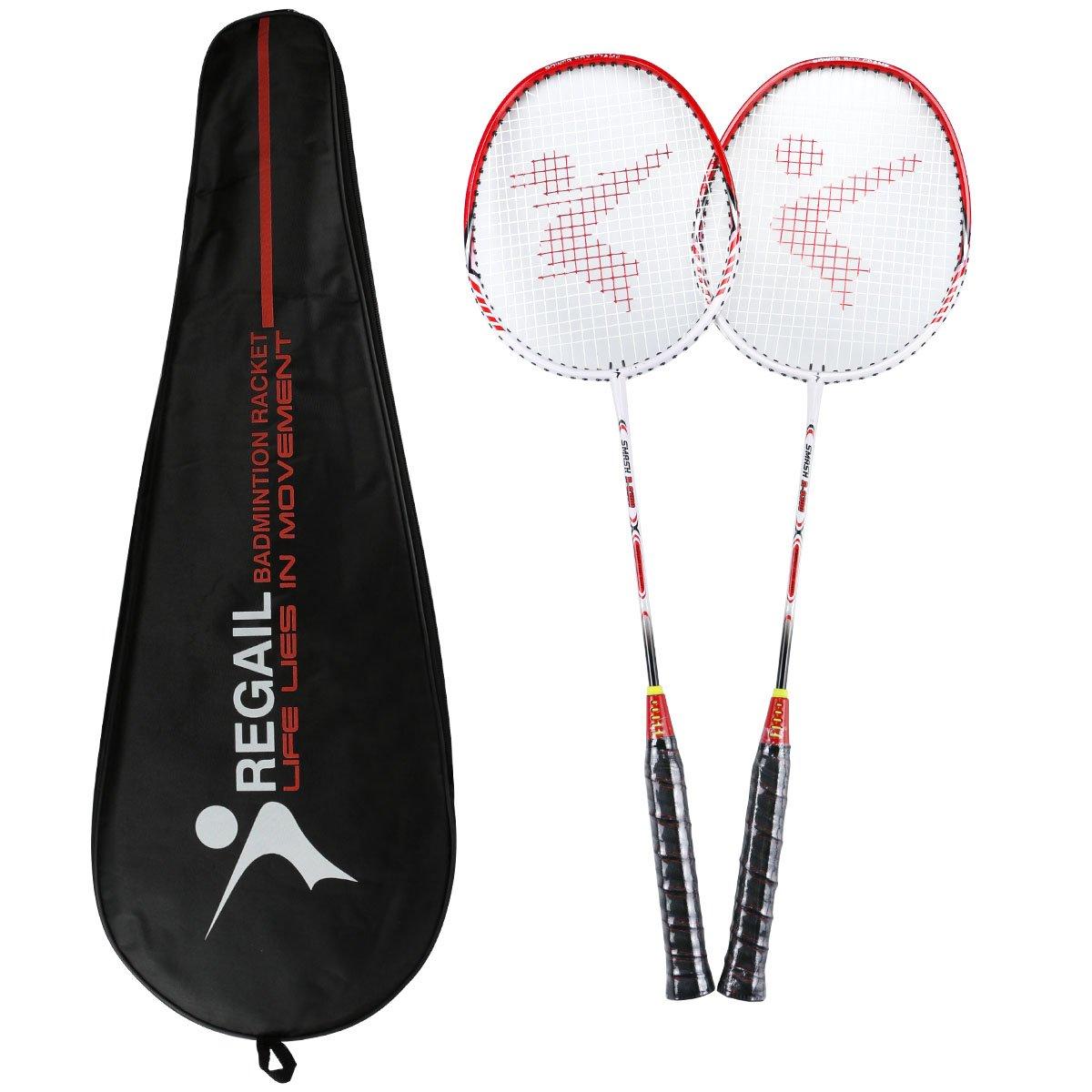 Philonext 2 Pack Badminton Rackets, Carbon Alloy Lightweight Sports Outdoor Badminton Racquet, 2 Player Badminton Practice Racquet Set Including 2 Rackets/1 Carrying Bag PhilonextOfficial