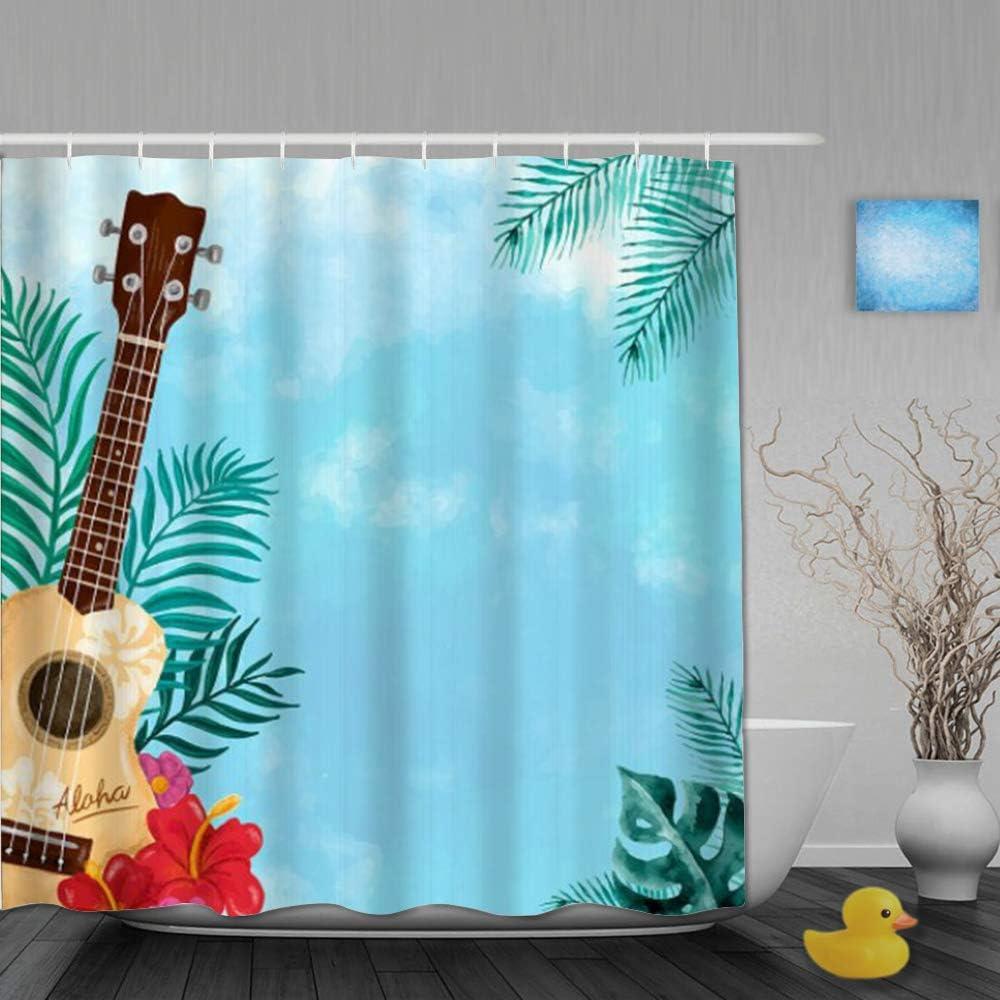 FAKAINU Cortina de Ducha Tejido de poliéster,Ukelele Hawaiano Guitarra Tropical Palm Leaves Hibiscus Aloha Stall música de Verano,Juego de baño con Ganchos 180 x 180 CM