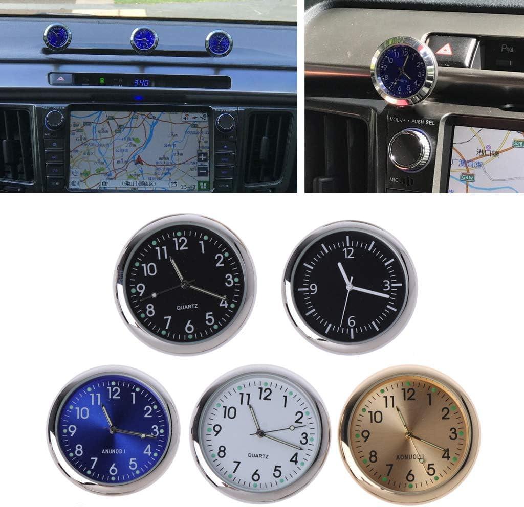 VAILANG Orologio da Auto Universale Stick-On Orologio elettronico Cruscotto Decorazione nottilucenti per Auto SUV Orologio da Auto Dorato