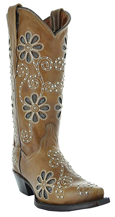 Nopales Floral Inlay Cowgirl Boots