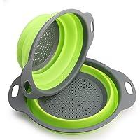 2 pezzi Kitchen scolapasta/scolatutto, scolapasta pieghevole in silicone -- 29.2*23.7cm e 24.6*20cm , Approvato FDA