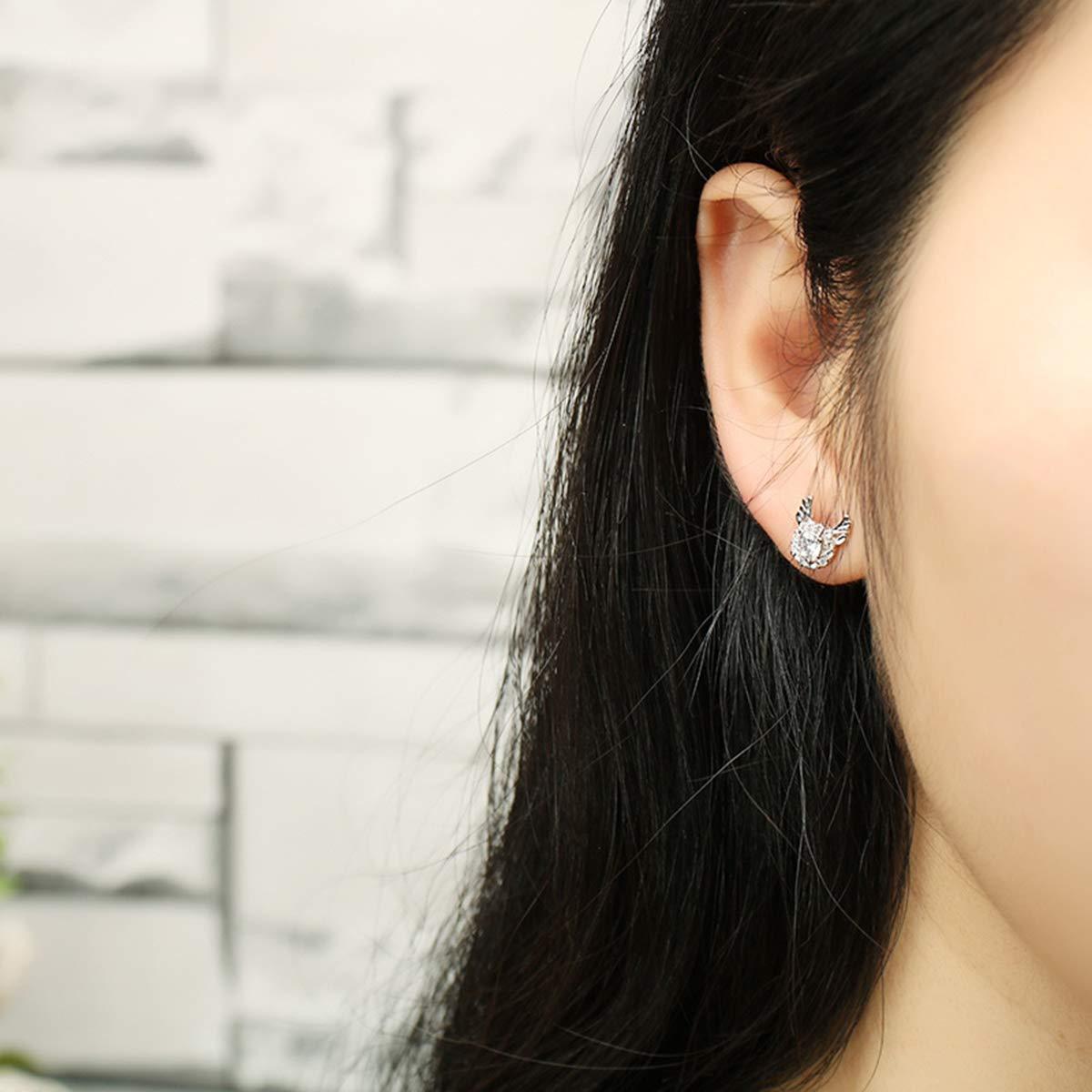 Silver Libaraba 925 Silver Rhinestone and Crystal Accent Deer Antler Stud Earrings with Jewelry Box,Deer Earrings for Women