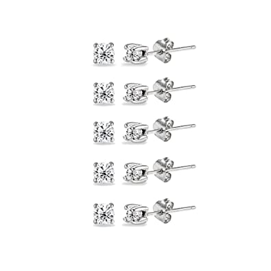 8e1eed857 Image Unavailable. Image not available for. Color: Sterling Silver Cubic  Zirconia Tiny Round 2mm Unisex Stud Earrings, Set ...