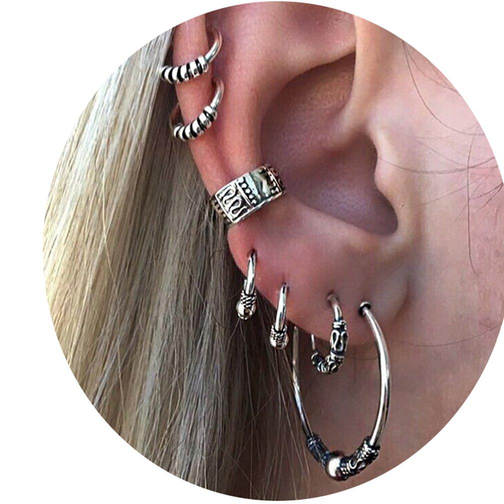 4EAELove Vintage Punk Stud Earrings Set Carved Swirls Piercing Non Piercing Ear Cuff Set Body Jewelry