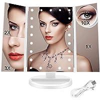 FASCINATE Espejo Maquillaje con Luz, Espejo de Mesa Tríptica Espejo con Aumentos 10x, 3X, 2X, 1x Iluminacíon 21 Led…