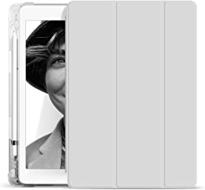 KenKe iPad 10.2 Case iPad 7th Generation / iPad 8th Generation Case with Pencil Holder Cover Compatible Leightweight Transparent Smart Cases for ipad 7th Gen (2019) / 8th Gen (2020) 10.2 Inch-(Gray)