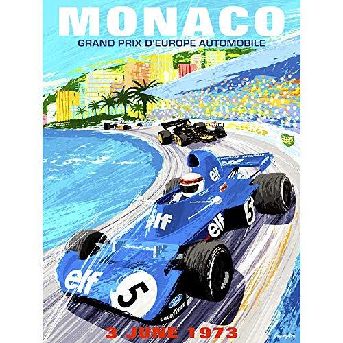 (Wee Blue Coo Vintage Advert Motor Sport Monaco Grand Prix 1973 Unframed Wall Art Print Poster Home Decor Premium)
