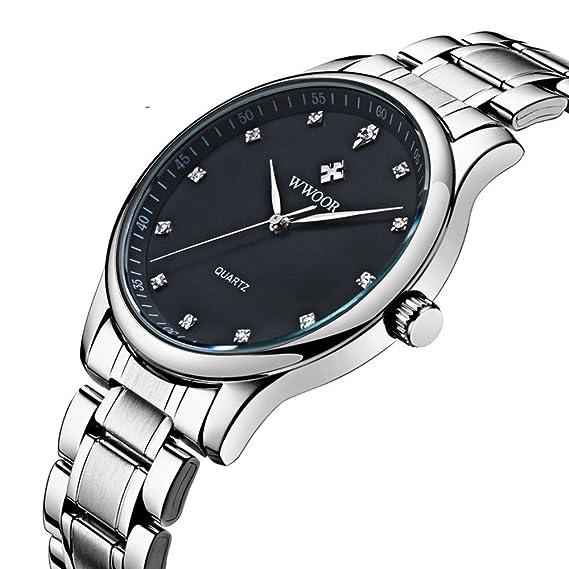 wwoor 8012 Mens relojes la Swiss Wan ultrafino relojes con profundidad de acero inoxidable resistente al agua negro: Amazon.es: Relojes