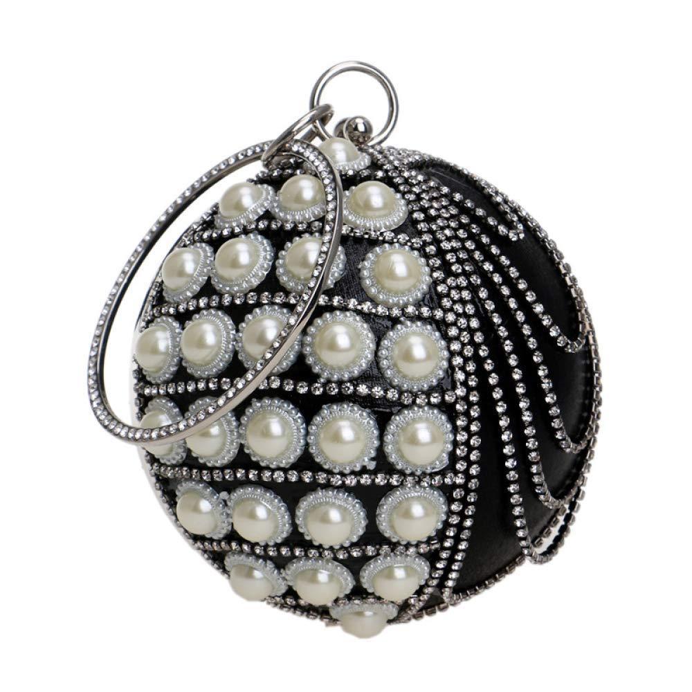 Black Soft Ladies Round Ball Clutch Bag Pearl Diamond Tassel Evening Bag Wedding Purse Party Prom Wrist Bag Handbags Handbag (color   Red, Size   Diameter13cm)