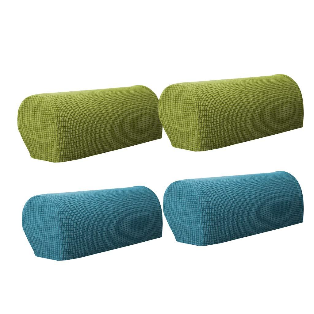 Homyl 2 Pares (Verde Oscuro Y Verde) Sofá Reposabrazos Cubre Sillón Fundas Protector
