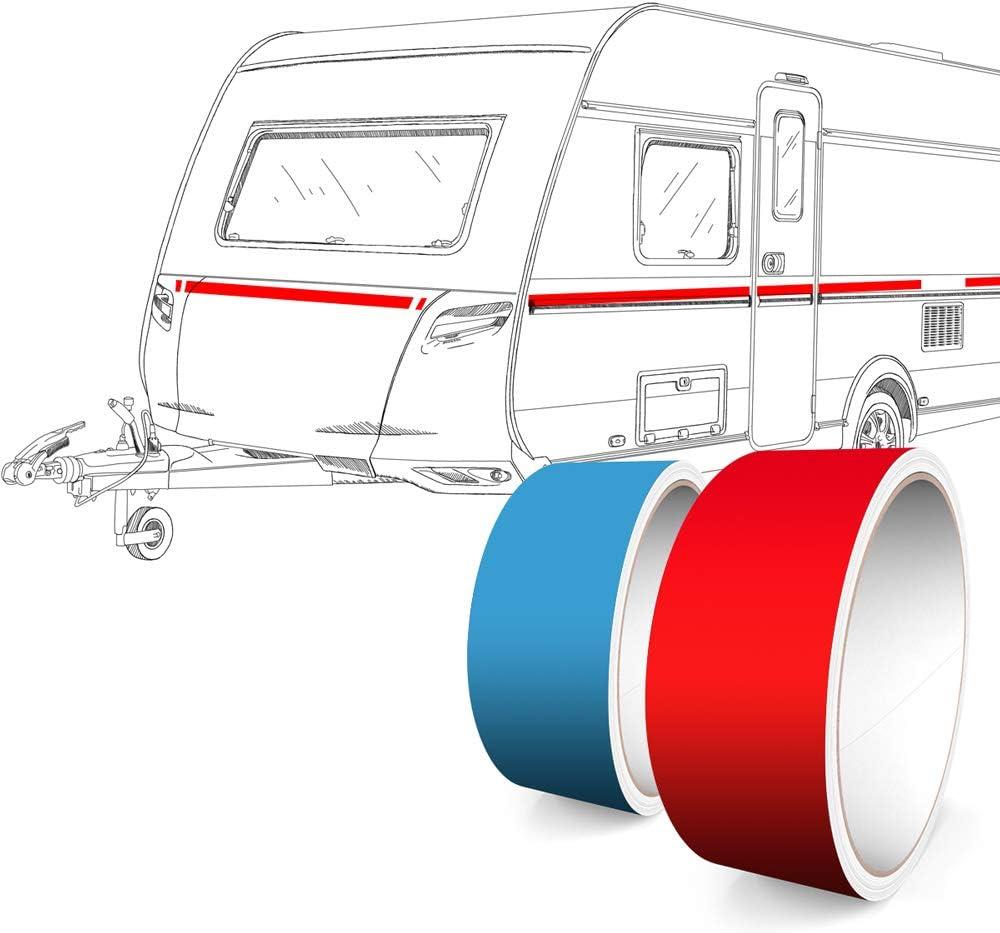 Reflektierend Rot 9 mm Breite Aufkleber Folie Auto Boot Motorrad Wohnmobil Wohnwagen /& mehr 10 m L/änge Motoking Zierstreifen