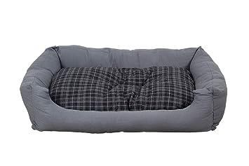 Cama para perros en gris moderno, 120x80 cm con colchoneta reversible, colchoneta para perro lavable