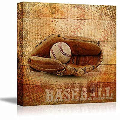 Baseball Americana - Patriotic Ball and Glove Sport Grunge Flag - Canvas Art Home Art - 12x12 inches