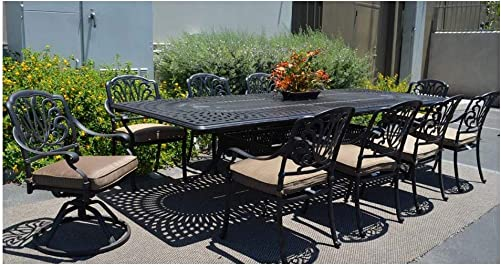 Patio Furniture Dining 11pc Elisabeth Set Outdoor Cast Aluminum Extension Rectangle 48 X 132″ Table