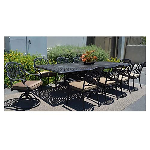 Patio Furniture Dining 11pc Elisabeth Set Outdoor Cast Aluminum Extension Rectangle 48 X 132 Table
