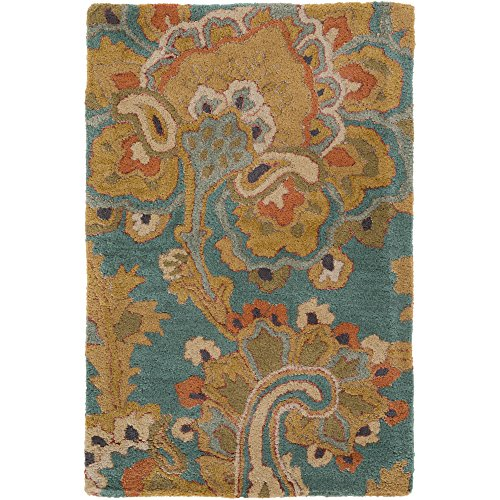 Surya Sea SEA-168 Classic Hand Tufted 100% New Zealand Wool Teal 2' x 3' Paisleys and Damasks Accent (Copper Wool Rug)