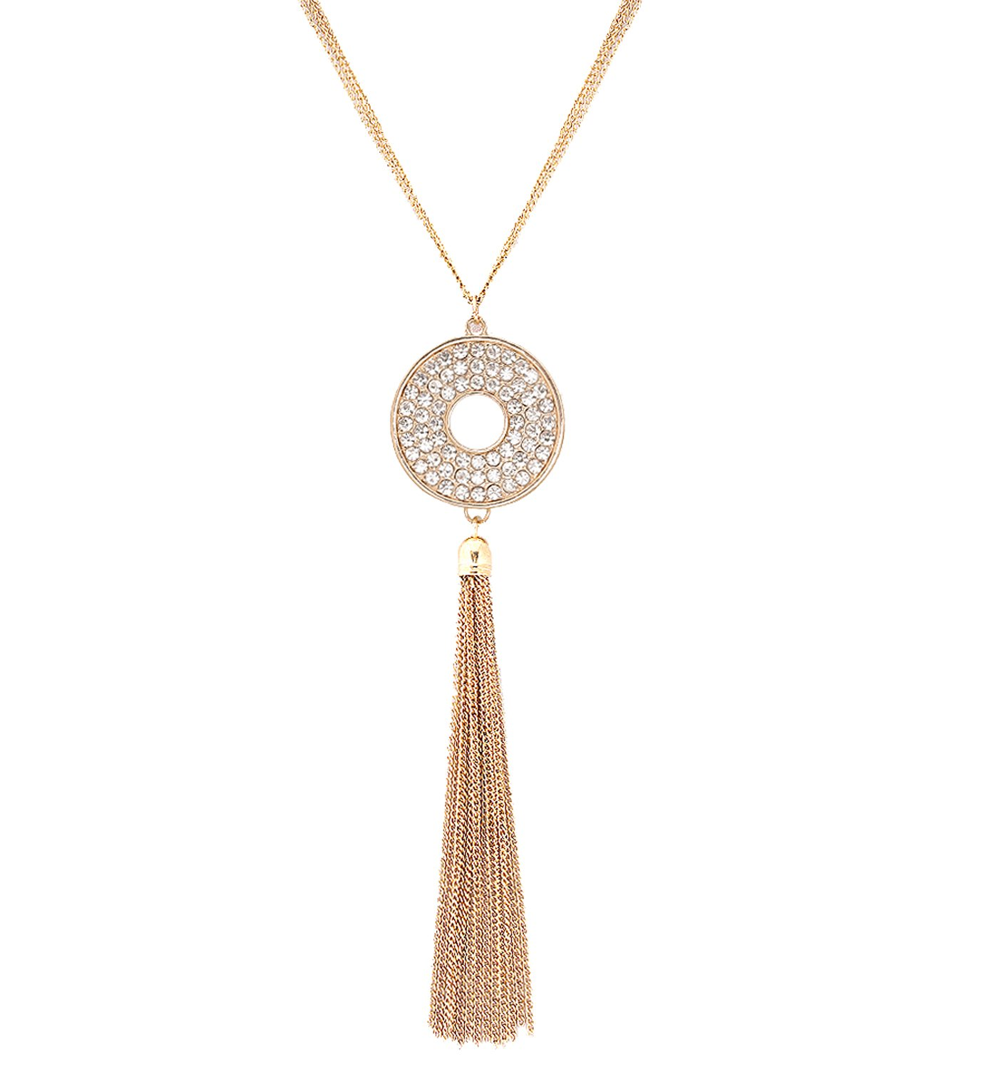 VUJANTIRY Long Tassel Circle Disc Pendant Necklace for Women Crystal Necklace Multistrand Chain Fringe Necklace by VUJANTIRY
