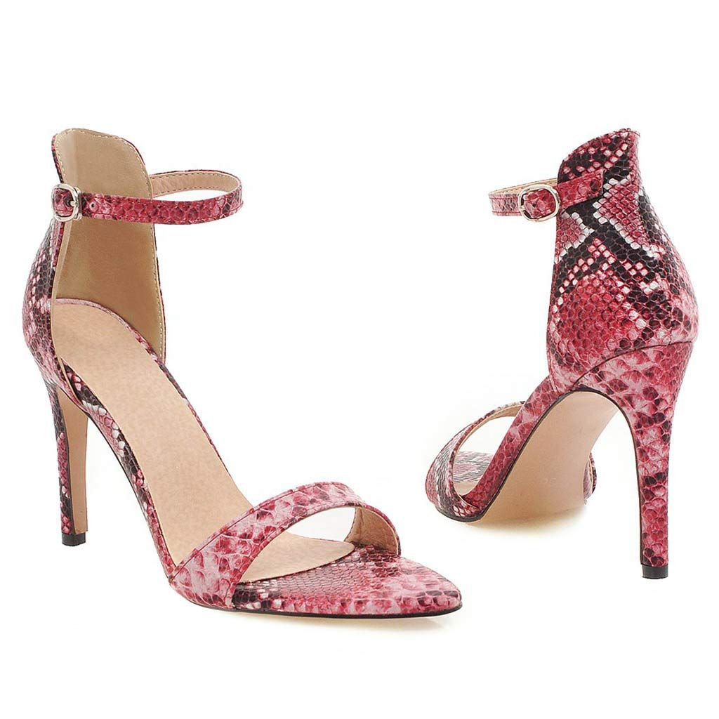 High Heels for Women Ankle Buckle Strap Slip on Open Toe Stiletto Pump Fashion Snake Dress Shoes Red by Yihaojia Women Shoes (Image #2)