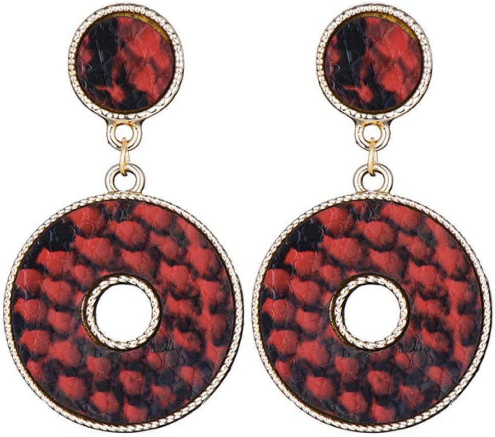 GEDASHU Pendientes Piel de Serpiente geométrica Pendientes Colgantes Redondos Dobles para Mujer Joyería de Fiesta con Pendiente de declaración de círculo Grande Vintage