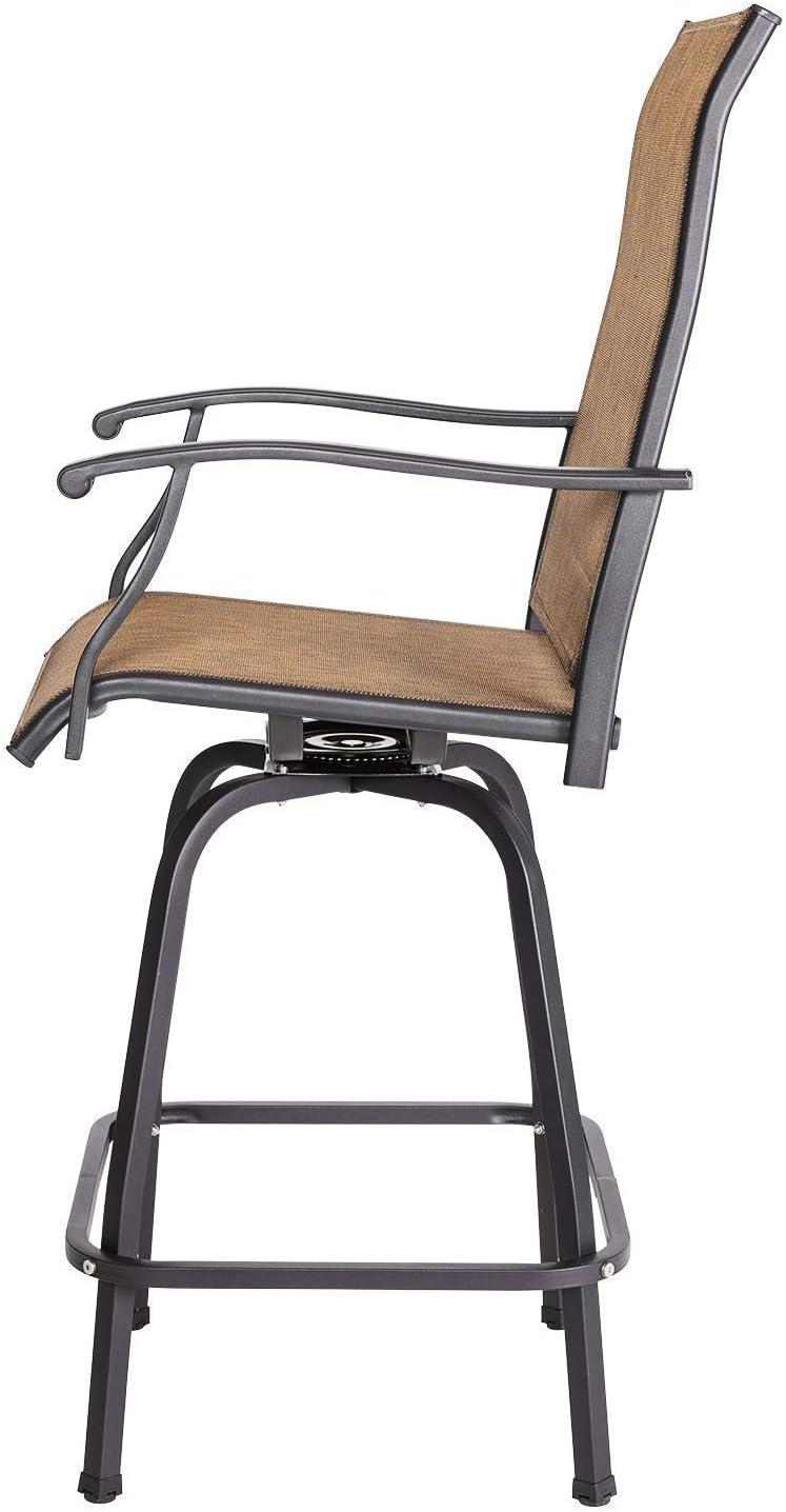 Nuu Garden 3 Piece Patio Bar Set Furniture Wrought Iron Stool /& 31 inch Bar Height Table