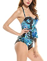 Women Sexy Strapless Two Piece Retro Bikini Push Up Floral Peplum Padded Swimsuit