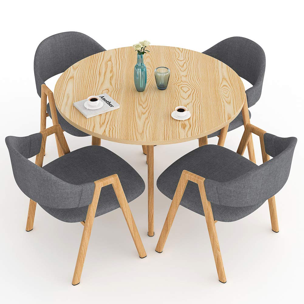 LITTLE TREE Dining Table Set, Modern Round Kitchen Table and 4 Dining Chairs Set for 4 Person, Kitchen Table Set with Metal Frame for Home Furniture, Grey