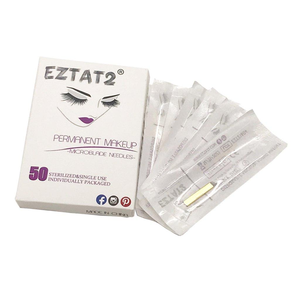 EZTAT2 50Pcs Microblading Needles Permanent Makeup Manual Eyebrow Blades 12 Sloped Needle by EZTAT2 (Image #1)