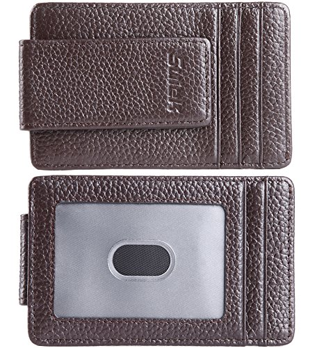 Brown Embossed Leather Money Clip - SUIEK Men's Money Clip RFID Thin Wallet - Leather Magnetic Front Pocket Slim Wallet and Credit Holder (Dark Brown (Embossed Full-Grain Leather - ID Display Window))