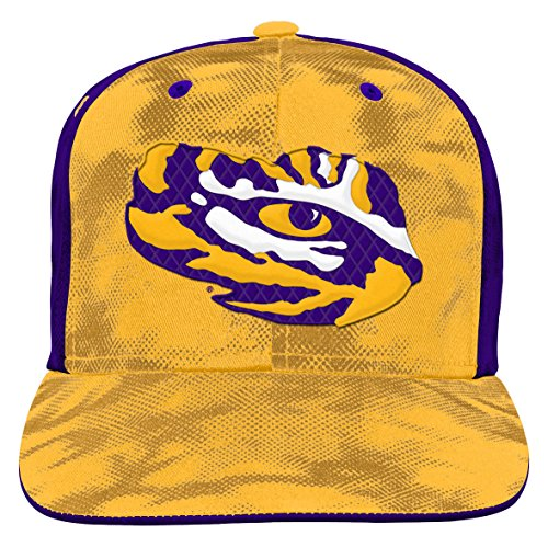 NCAA by Outerstuff NCAA Lsu Tigers Youth Boys Raster Camo Flatbrim Snapback Hat, Regal Purple, Youth One Size