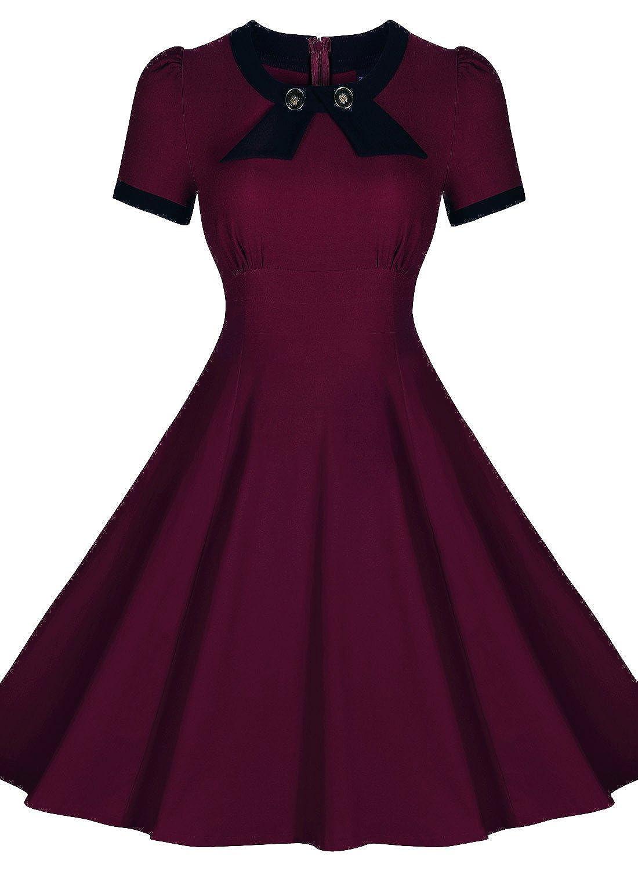 Miusol® Damen Sommerkleid Rundhals Kurzärmel Business Faltenrock 50s Retro Cocktailkleid Kleid Grün Größe 36-46