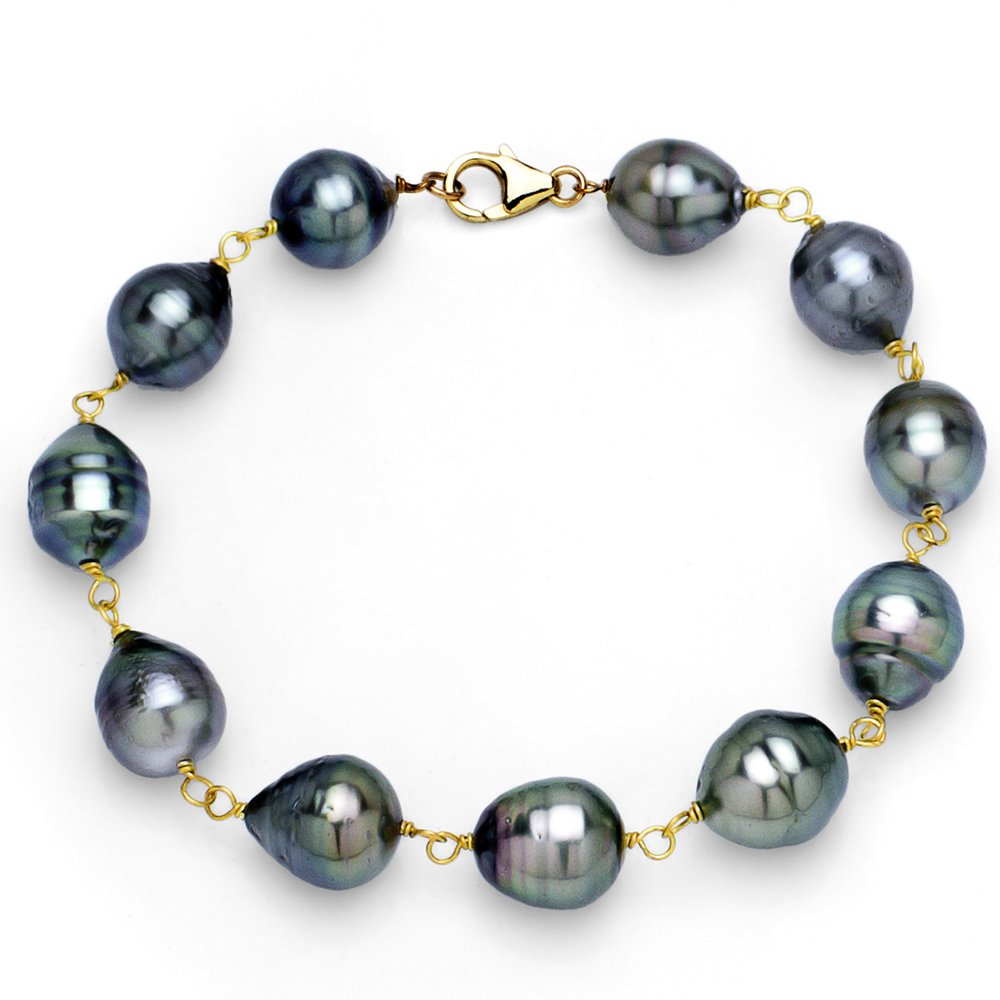 14k Yellow Gold 8-10mm Black Baroque Tahitian Cultured High Luster Pearl Bracelet, 8''