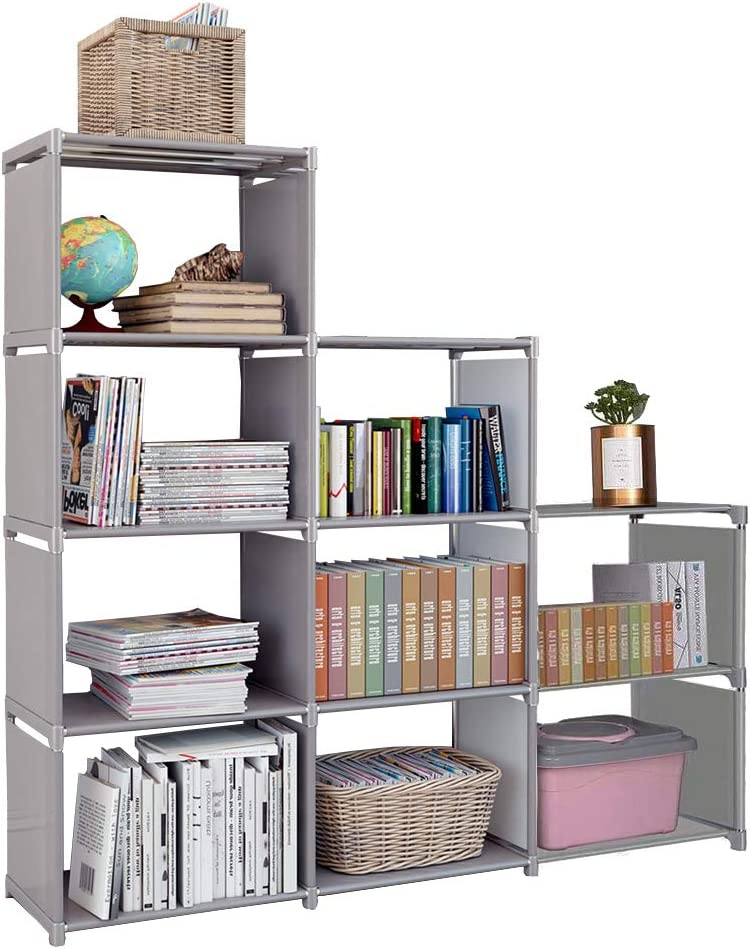 besilence Kids 9 Cubes Bookcase Toy Closet Storage Organizers Bookshelf 4 Tier Office Book Shelf DIY Shelving Cabinet Shelves