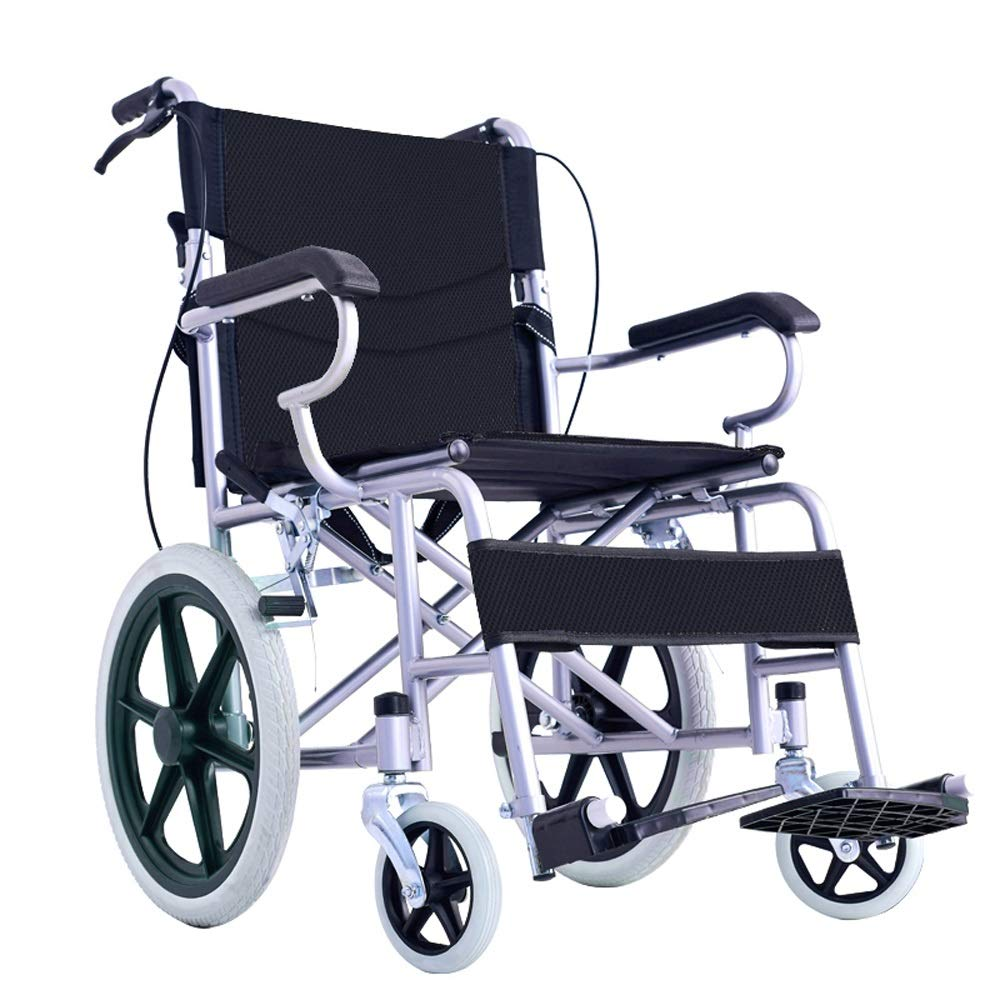 YANGLIYU Wheels Folding Self Propelled Wheelchair,Folding Steel Wheelchair with Footrest and Detachable Armrests (Color : Black)