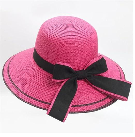 Spbamboo Floppy Foldable Ladies Women Bow Straw Beach Sun Summer Hat Wide  Brim at Amazon Women s Clothing store  19fd6f49a76f