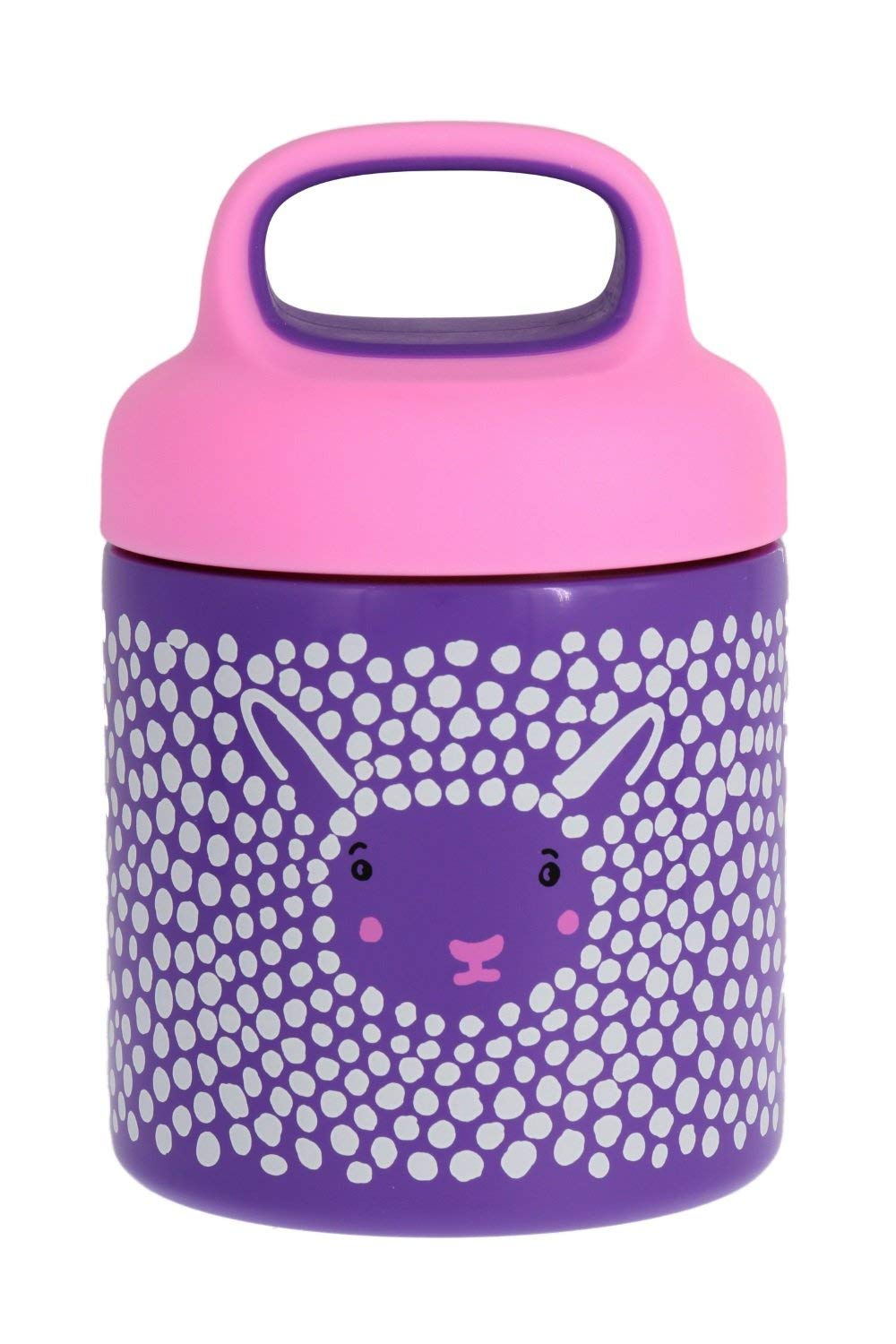 reduce stainless steel vacuum insulated food jar with carrying handle, 10oz- Furry Friends Design, Pink Bear – Ideal for Hot or Cold Foods, Fits in Most Lunchboxes, BPA-free & Sweat-proof