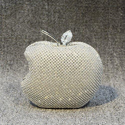 ruiio Lady Apple Shape de la mujer noble lujo noche embrague bolso de mano para el hombro Wedding Party Bolsa Maquillaje Bolso de mano, amarillo blanco