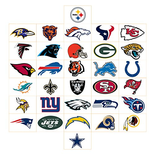 Nfl Team Logo Football - FIFTY NFL Stickers Football Team Logos One Complete set (32) +(18) extras=50