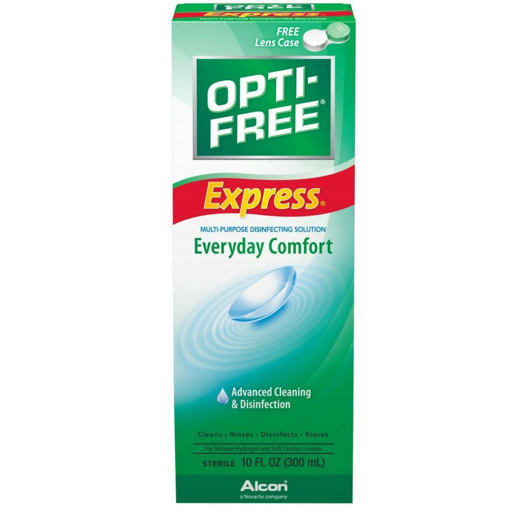 OPTI-FREE EXPRESS Everyday Comfort, Advanced Cleaning & Disinfection 10 oz (Pack of 4)