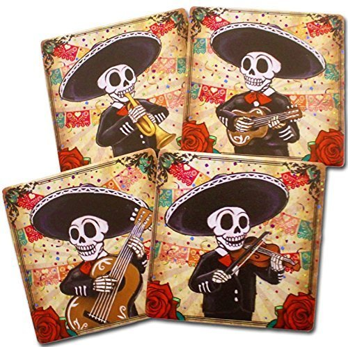 Day of the Dead Mariachi Band Coasters Set of 4   Dia de los Muertos Home and Kitchen Decor Giftware