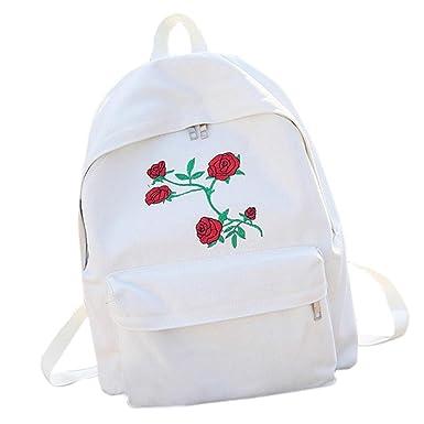 Mochilas Escolares Juveniles Chicas SMARTLADY Mujer Rose Flores de Bordado Lona Mochila Bolsa Viajar (Blanco