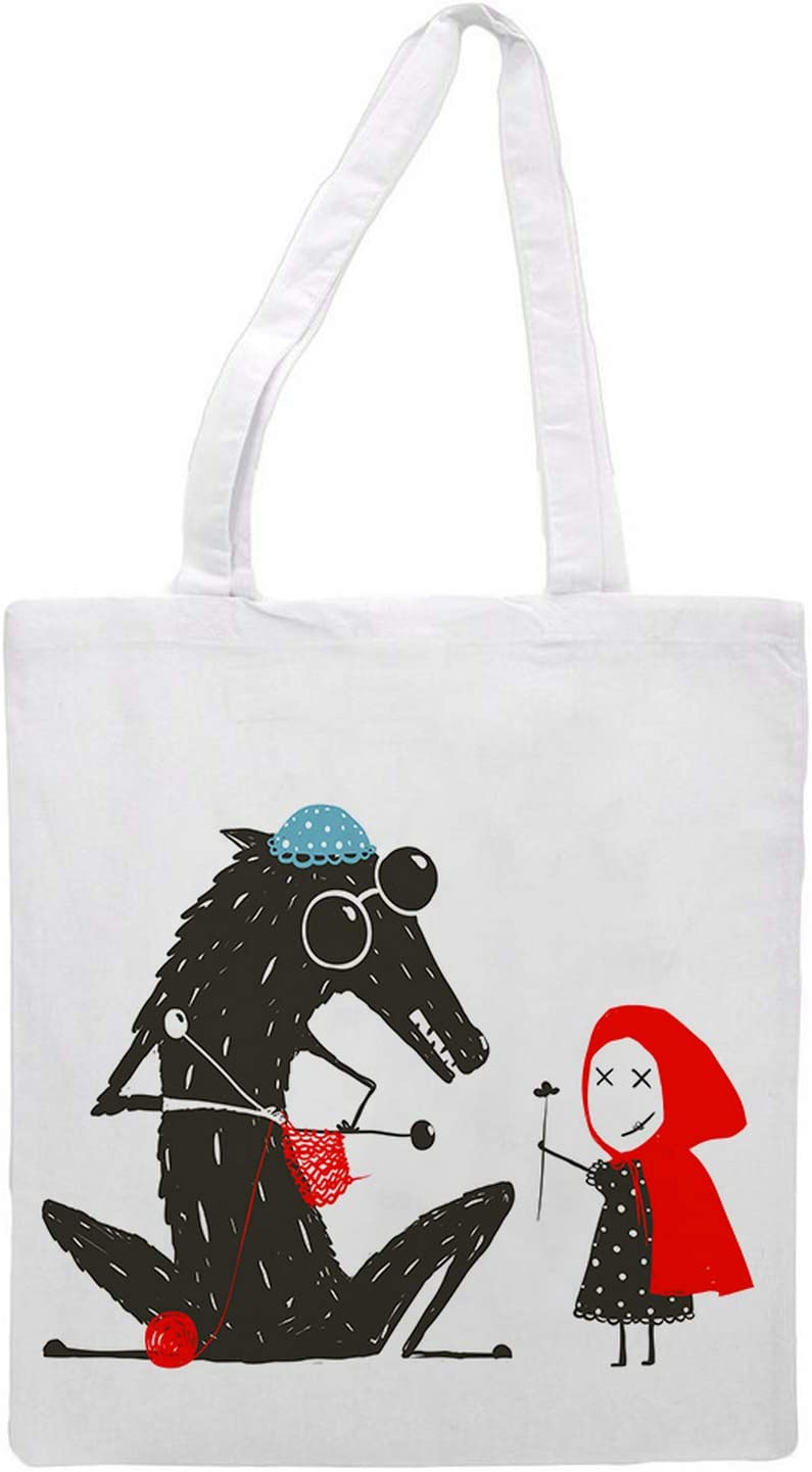 Women's tote bag/Little Red Riding Hood with the fox - Sports Gym Lunch Yoga Shopping Travel Bag Washable - 1.47X0.98 Ft