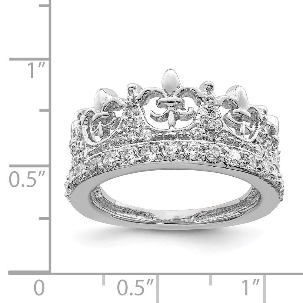 925 Sterling Silver Fleur De Lis Crown Cubic Zirconia Cz Band Ring Fine Jewelry For Women Gift Set