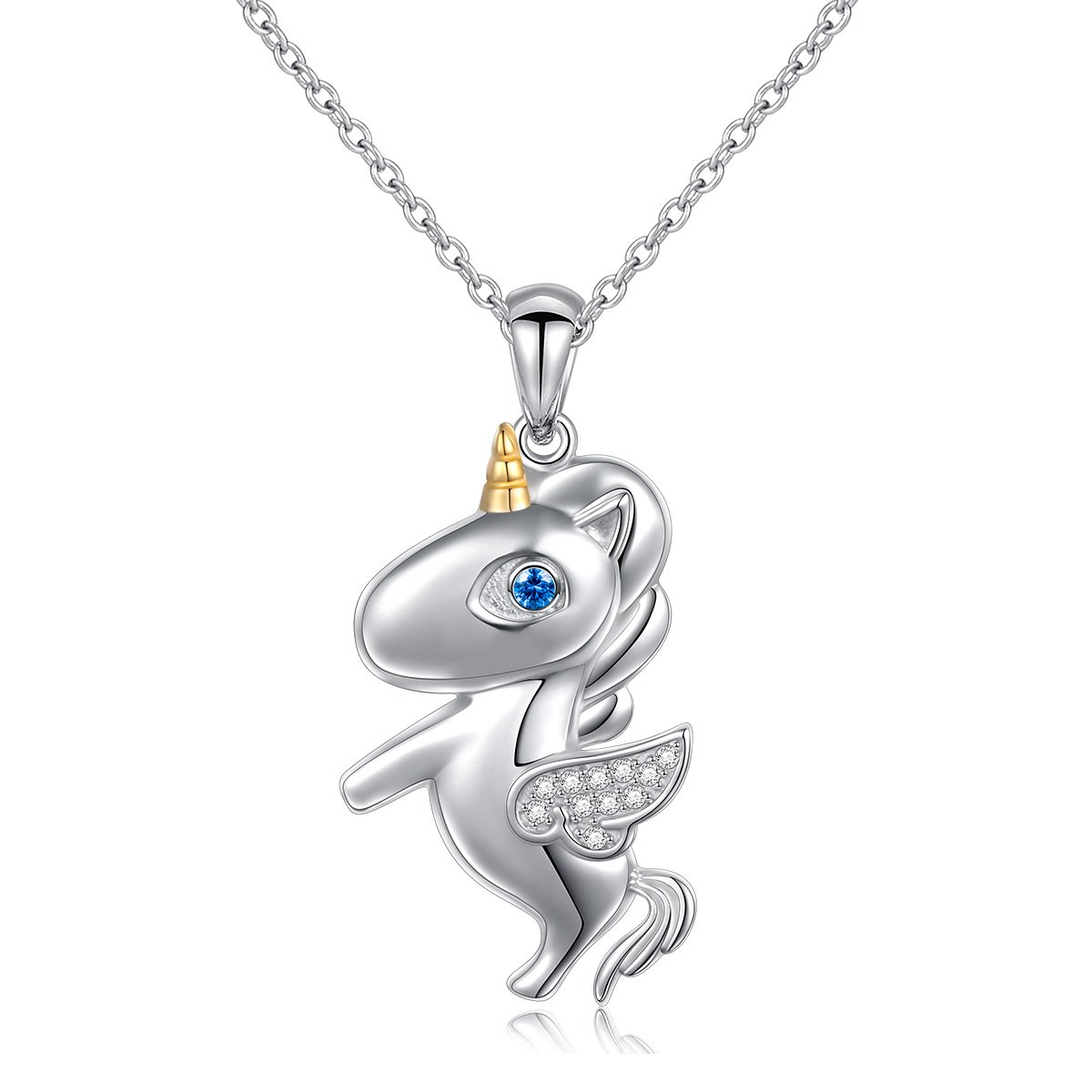 LINLIN FINE JEWELRY 925 Sterling Silver Cubic Zirconia Flying Unicorn Pendant Necklace for Women Girl, 18 inch (Circle)