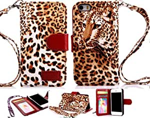 Thinkcase Strap Leopard Skin Wallet Flip Leather Pouch Stand Case Cover For iPhone 4 4g 4s 05#