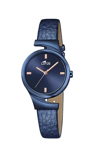 Lotus 18345/1 - Reloj analógico para Dama con Esfera Azul y Correa de Piel Azul (Mecanismo de Cuarzo).: Lotus: Amazon.es: Relojes