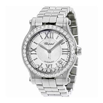64b4615e11d96 Chopard Happy Sport Round Ladies Stainless Steel Automatic Diamond Bezel Watch  278559-3004