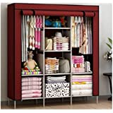FASNO 6+2 Layer Fancy and Portable Foldable Collapsible Closet/Cabinet (Need to Be Assembled) (88130) (Wine Red)
