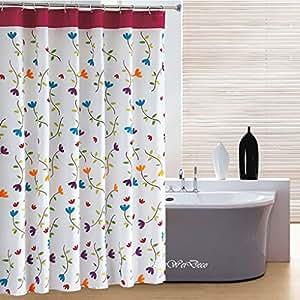 Diseño de orquídeas Elleweideco diseño de flores de tela de poliéster a prueba de moho cortina de ducha 72 x 182,88 cm