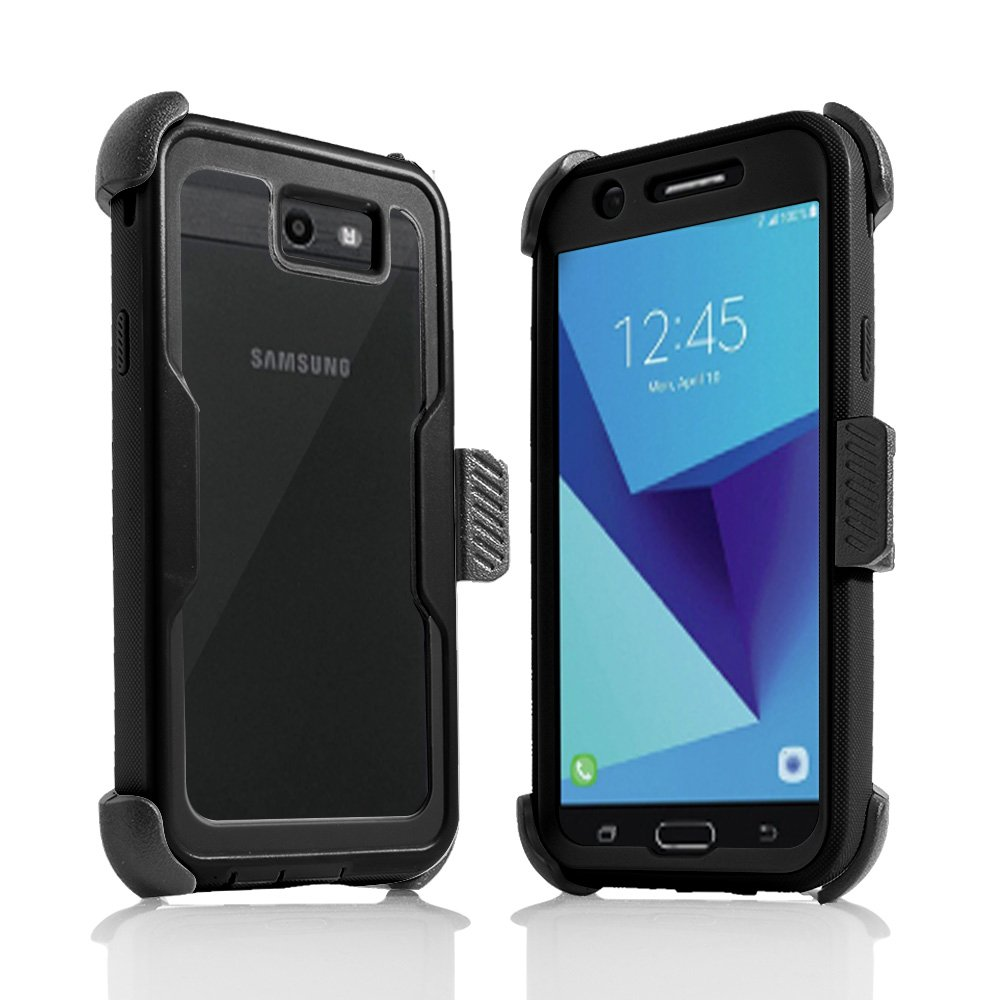 For Samsung Galaxy J7/Sky Pro/J7 Prime/J7V/J727/Perx/Halo Full Body Rugged Holster Explorer Armor Case with Built in Screen Protector (Black)